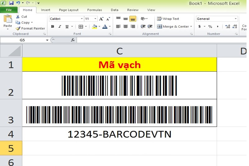 tao ma vach excel